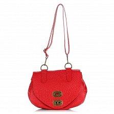 Кожаная сумка на каждый день Genuine Leather 8618 красного цвета с клапаном на механическом замке