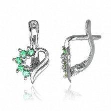 Серебряные сережки с зелеными фианитами Любовное послание