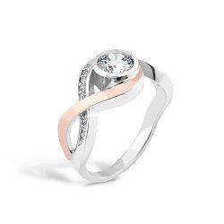 Серебряное кольцо с золотой накладкой и фианитами 000067254