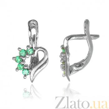 Серебряные сережки с зелеными фианитами Любовное послание SLX--С2ФИ/014