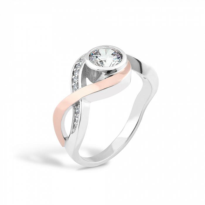 Серебряное кольцо Даяна с золотой накладкой и фианитами 000067254