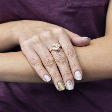 Золотое кольцо Маржени с белым жемчугом и фианитом