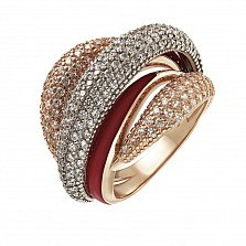 Кольцо в красном золоте Ноктюрн с эмалью и фианитами