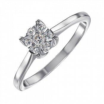 Каблучка на заручини з білого золота з діамантами 000104397