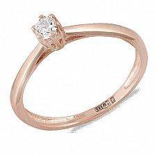 Помолвочное кольцо Нежность в красном золоте с фианитом