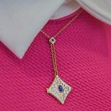 Золотой кулон Рожденные для счастья с лазуритом, сапфиром, бриллиантами и эмалью