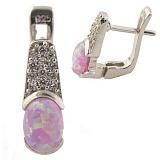Серебряные серьги Радия с опалом и кристаллами циркония