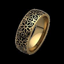 Обручальное кольцо из желтого золота Алатырь с черной эмалью и бриллиантами