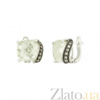 Серебряные серьги с кварцем и фианитами Шакира 3С379-0016