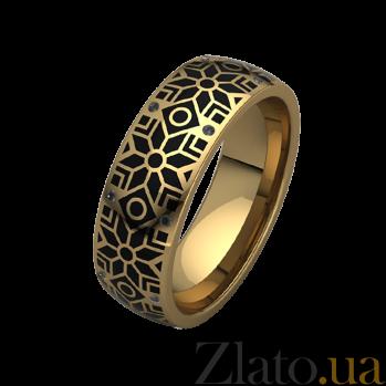 Обручальное кольцо из желтого золота Алатырь с черной эмалью и бриллиантами 000068711