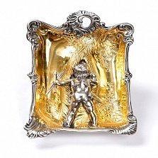 Серебряная пепельница Купидон с позолотой