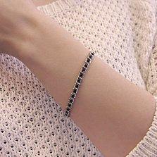 Серебряный браслет Мирена с черным цирконием, 5мм