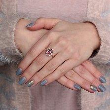 Золотое кольцо Миллениум с опалом-триплетом и белым цирконием