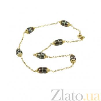 Золотое колье с янтарем и жемчугом Венецианская ночь 2Л094-110