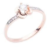 Золотое кольцо в красном цвете с бриллиантами Единственная