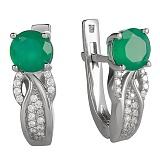 Серебряные серьги с зелёным агатом Луиджи