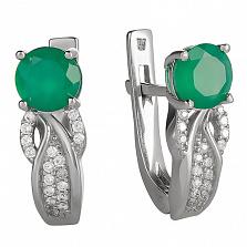 Серебряные серьги Лавина с зеленым агатом и цирконием