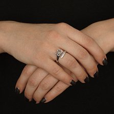 Серебряное кольцо Ладошка с кристаллами Swarovski
