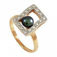 Золотое кольцо Иллюзия с черным жемчугом и фианитами
