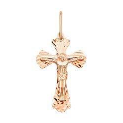 Крестик из красного золота с алмазной гранью 000126304