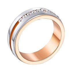Золотое обручальное кольцо в комбинированном цвете с фианитами 000123473
