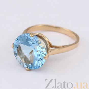 Золотое кольцо с голубым топазом Принцесса 000027263
