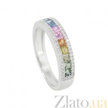 Золотое кольцо с сапфирами и бриллиантами Радуга 1К551-0130