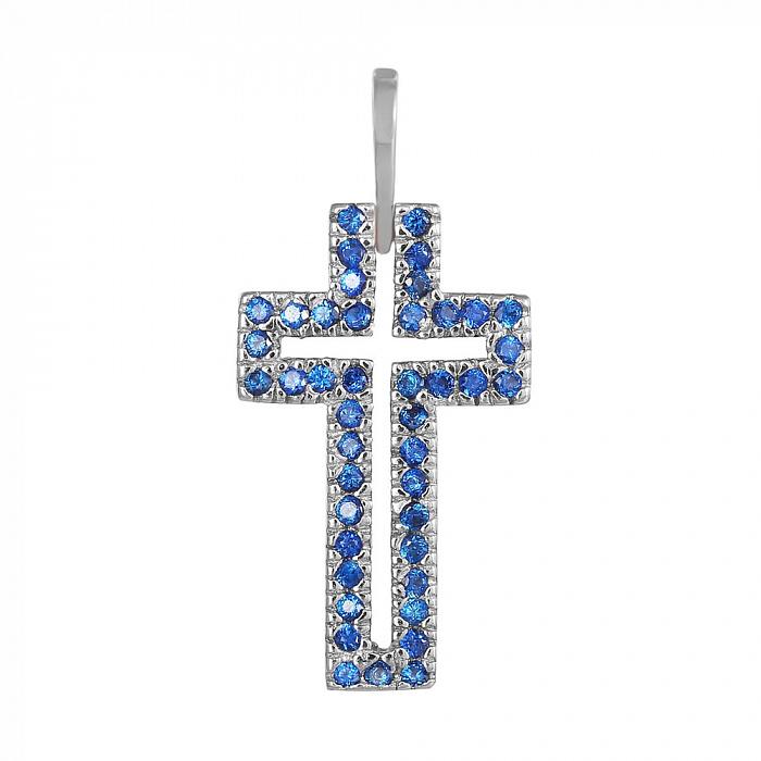 Серебряный крестик с синими фианитами 000028608 000028608