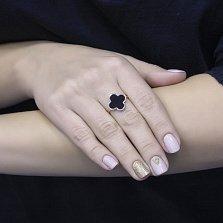 Кольцо Деона из красного золота с черной эмалью в стиле Ван Клиф