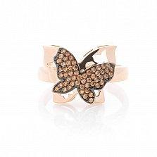 Золотое кольцо Летняя радость с коньячными фианитами