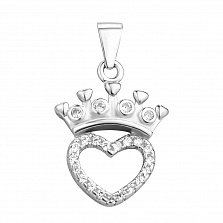 Серебряный кулон Сердце с короной и фианитами