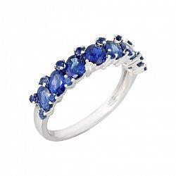 Золотое кольцо с сапфирами и бриллиантами Морские волны