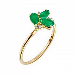 Кольцо из желтого золота с изумрудами и бриллиантами 000080984