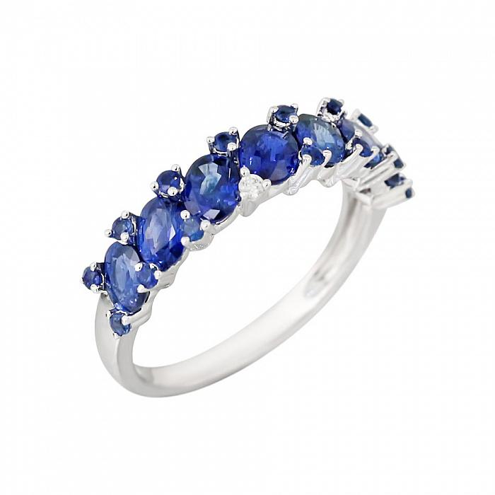 Золотое кольцо с сапфирами и бриллиантами Морские волны 000029297