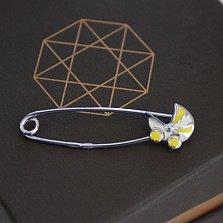 Серебряная булавка Коляска с бело-желтой эмалью