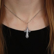 Серебряный узорный крест Благословение с чернением
