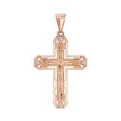 Крестик из красного золота с фианитами 000140377
