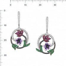 Серебряные серьги-подвески Лиана с цветной эмалью и разноцветными фианитами