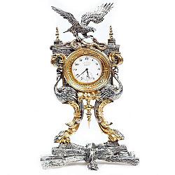 Серебряные интерьерные часы с позолотой 000004525
