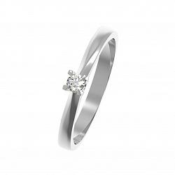 Золотое помолвочное кольцо Сельта в белом цвете с бриллиантом