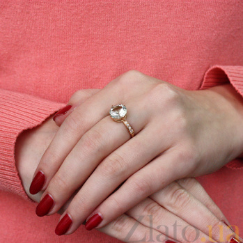 Золотое кольцо с зеленым аметистом и фианитами Эстель 000024495
