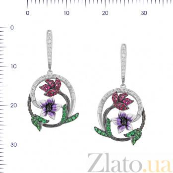 Серебряные серьги-подвески Лиана с цветной эмалью и разноцветными фианитами 000081836