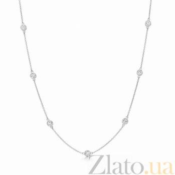 Колье из серебра Кальента с завальцованными фианитами 000070881