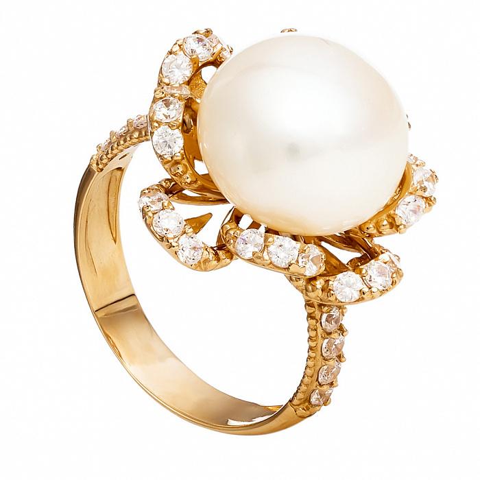 Золотое кольцо с жемчугом и фианитами Люцина 000029936