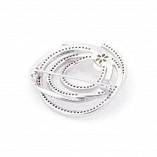 Серебряная брошь Эстелла с жемчугом и фианитами