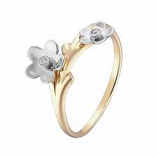 Кольцо в желтом и белом золоте Торения с фианитами