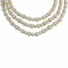 Трехрядное ожерелье Эдель из белого и розового жемчуга с серебряной застежкой