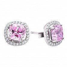Серебряные пуссеты-трансформеры Эстель с розовыми и белыми фианитами