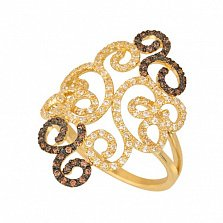 Кольцо из желтого золота Арабеска с цирконием