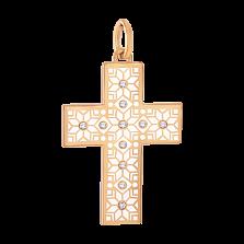 Золотой декоративный крестик Алатырь с белой эмалью и бриллиантами